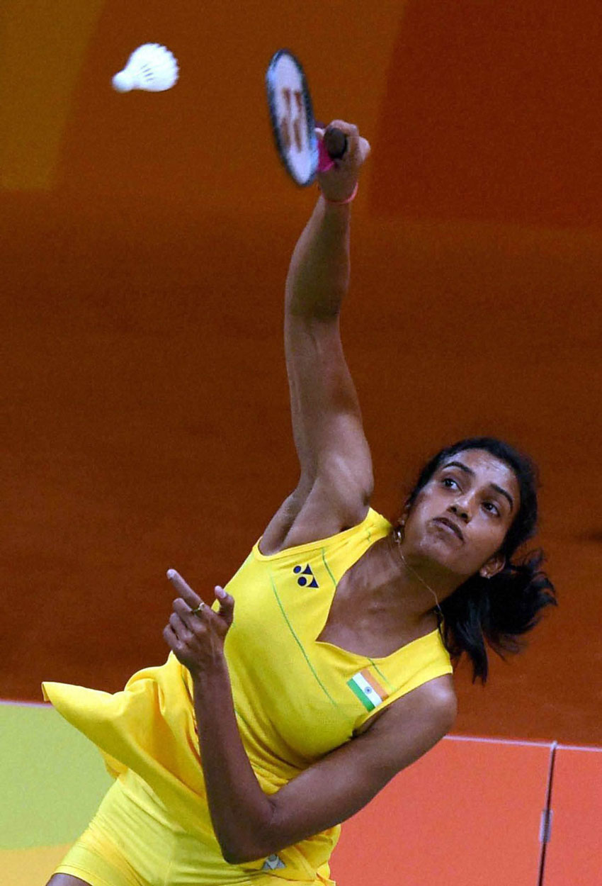 India's badminton player P.V. Sindhu plays against Laura Sarosi of Hungary during the Women's Single match at the Summer Olympic 2016 in Rio de Janeiro, Brazil, Aug. 11. P.V. Sindhu won the match by 21-8, 21-9.  (Atul Yadav | PTI)