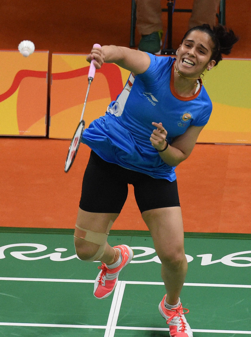 India's badminton player Saina Nehwal plays against Vicente Lohaynny of Brazil during the Women's Single match in the Summer Olympic 2016 at Rio de Janeiro, Brazil, Aug. 11. Saina Nehwal won the match by 21-17, 21-17. (Atul Yadav | PTI)