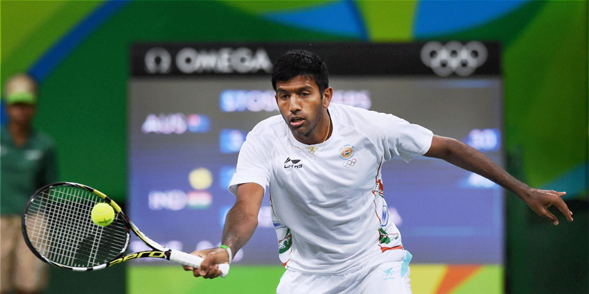 India's Rohan Bopanna during the Mixed Doubles match against Australia's S. Stosur and J. Peers at the Summer Olympics 2016 at Rio de Janeiro, Brazil, Aug. 11. (Atul Yadav | PTI)