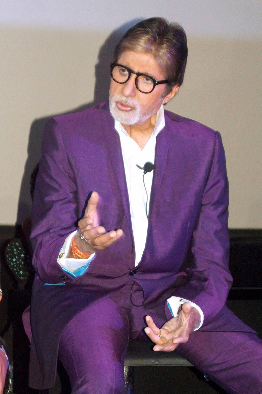 "Amitabh Bachchan interacts with media during promotion ""Pink,"" in New Delhi, Sep. 16. (Press Trust of India)"