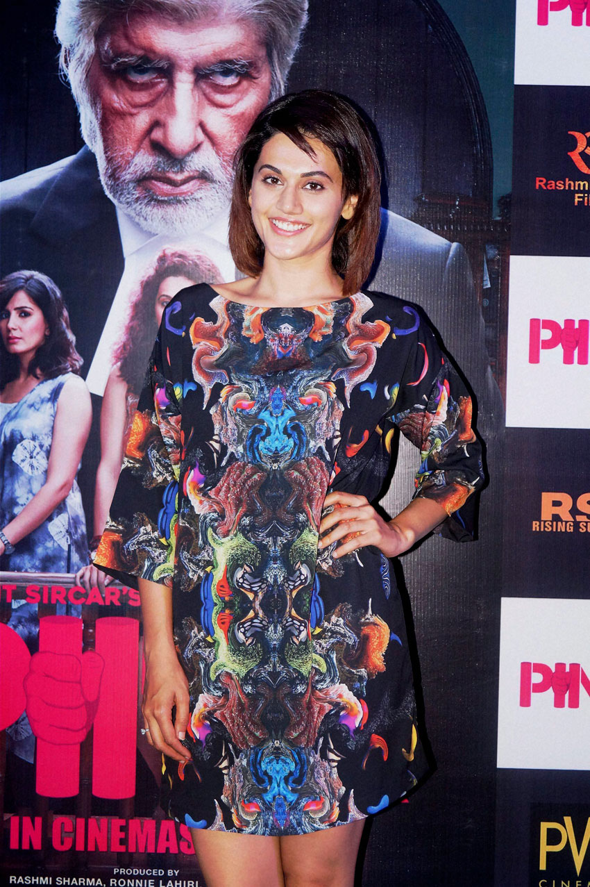 "Taapsee Pannu interacts with media during promotion ""Pink,"" in New Delhi, Sep. 16. (Press Trust of India)"