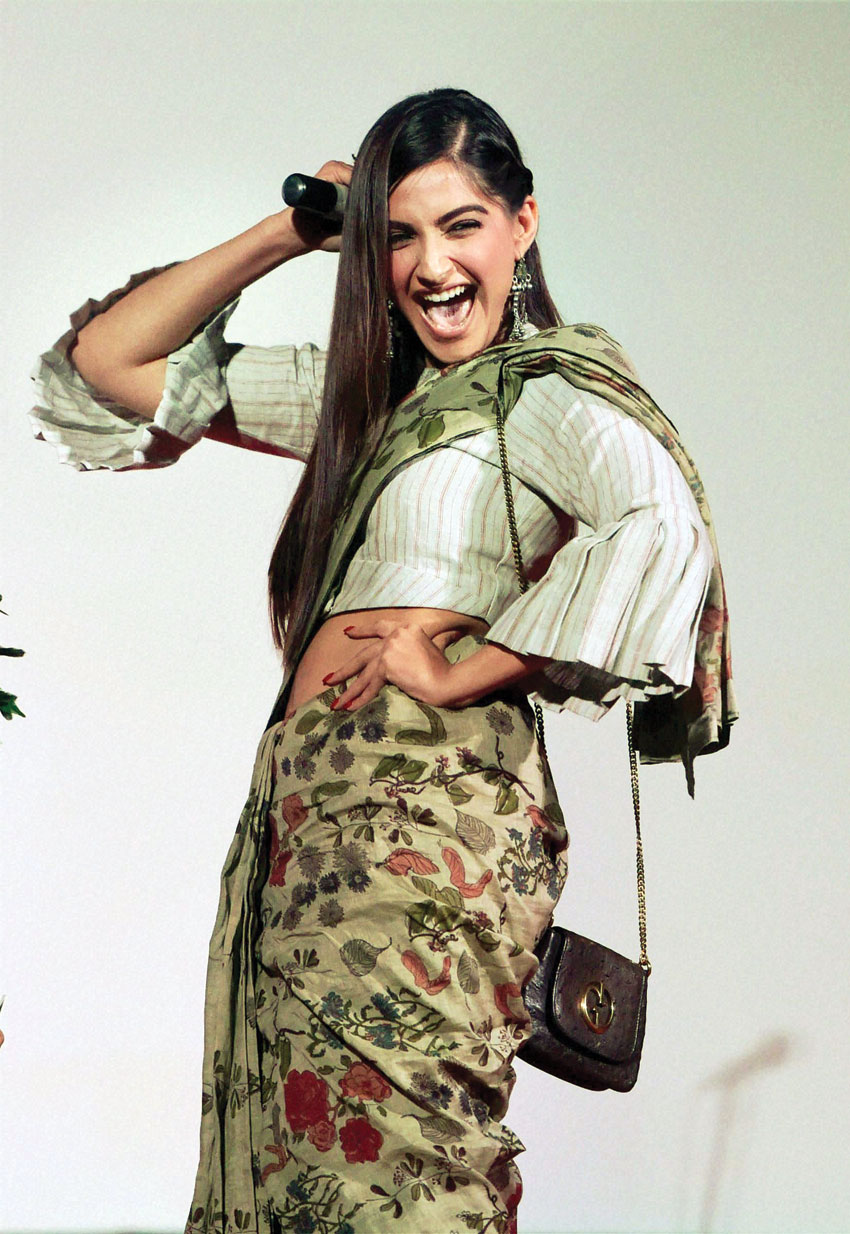 File photo of Sonam Kapoor as she tries some dance moves at the Kashish Film Festival in Mumbai. (Santosh Hirlekar | PTI)
