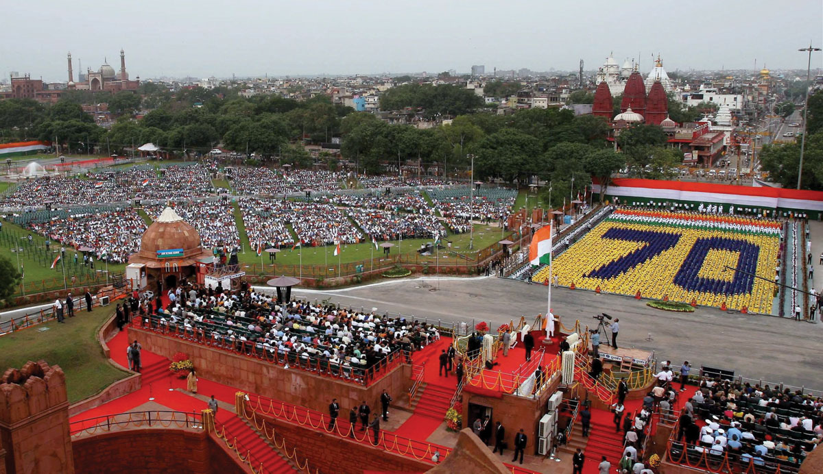Prime Minister Narendra Modi addressing the nation during the 70th Independence Day function at the historic Red Fort in New Delhi, Aug. 15. (PTI/DPR)