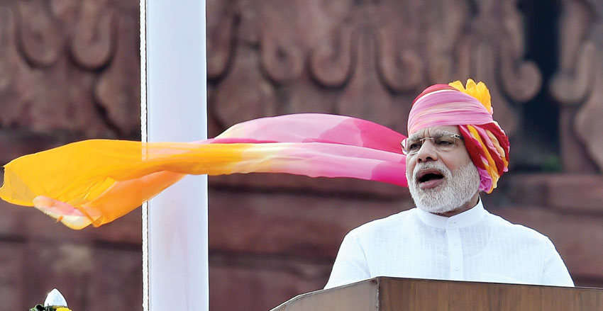 Prime Minister Narendra Modi addressing the nation during the 70th Independence Day function at the historic Red Fort in New Delhi, Aug. 15. (Shahbaz Khan/PTI)