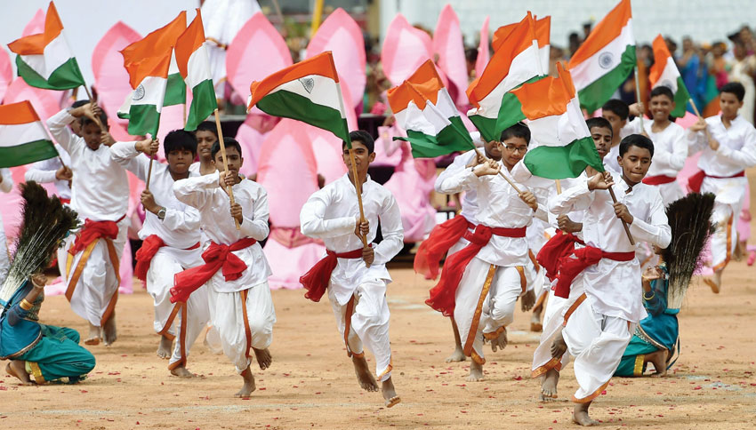 Students perform during the 70th Independence day celebration at Manekshaw Parade ground in Bengaluru, Aug. 15. (Shailendra Bhojak/PTI)