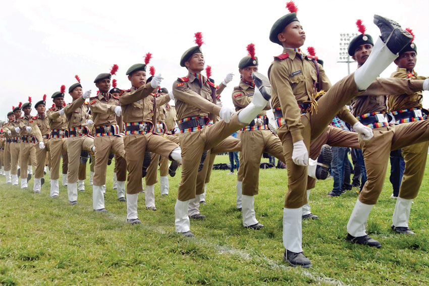 National Cadet Corps cadres during the celebration of 70th Independence day at Nurul Amin Stadium in Nagaon. (Press Trust of India)