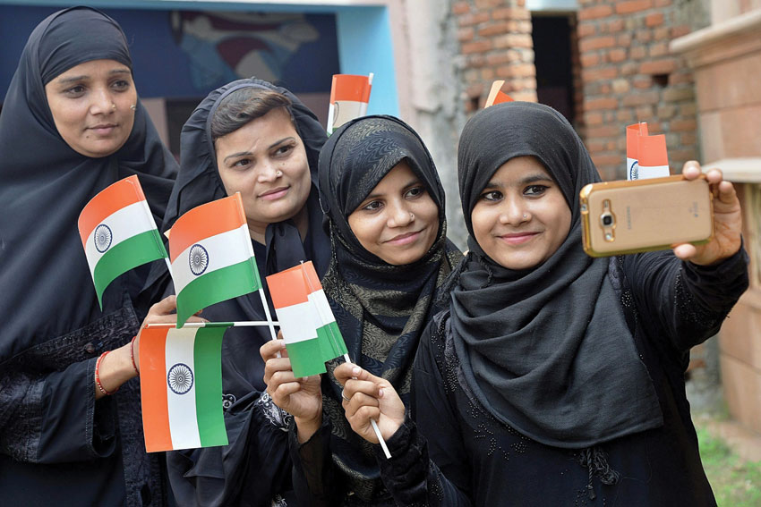Muslim women taking a selfie with the National flag on 70th Independence Day at a hostel in Jodhpur, Rajasthan, Aug. 15. (Press Trust of India)