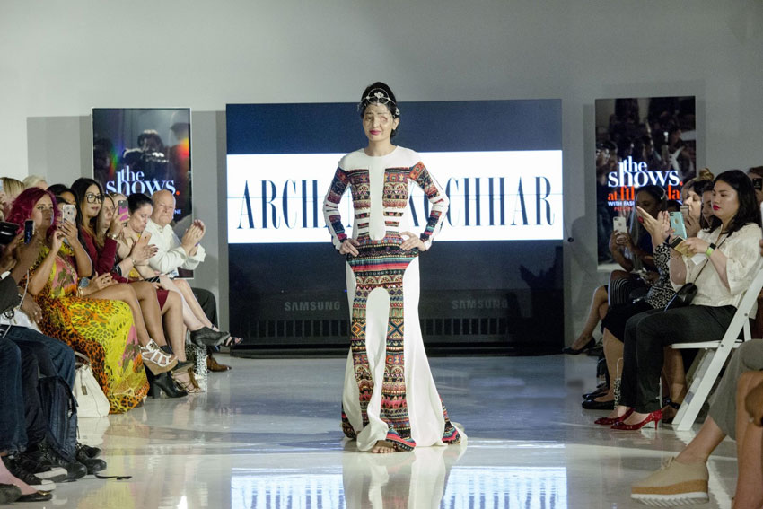 Acid Attack Victom Reshma Qureshi walking the ramp for Designer Archana Kochhar at NYFW.