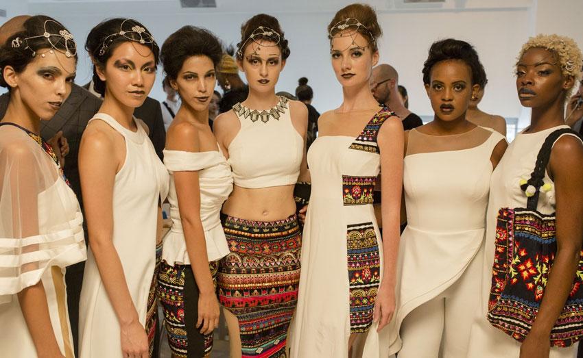 Models in Archana Kochhar's creation at NYFW SS2017.