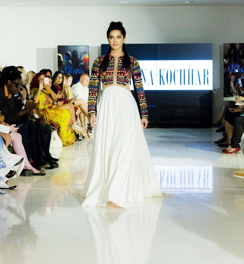 Actress Sunny Leone walking the ramp for Designer Archana Kochhar at NYFW.