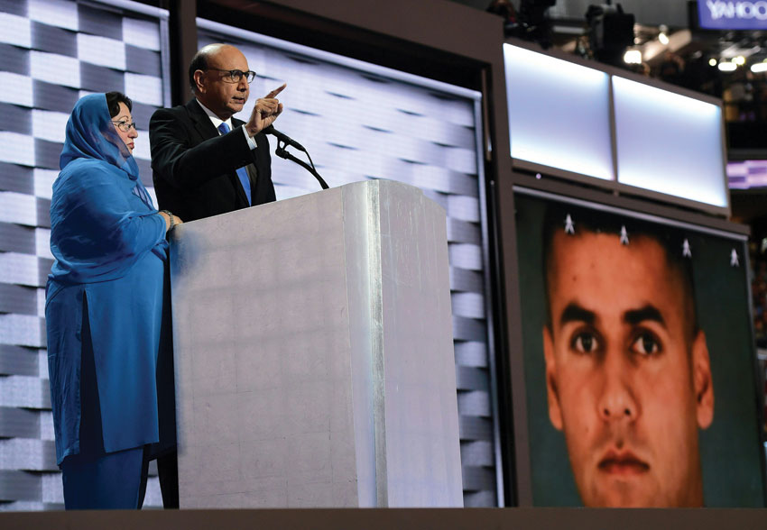 Khizr Khan, whose son Humayun S.M. Khan was one of 14 U.S. Muslims who died serving the United States in the ten years after 9/11 speaks during the final day of the 2016 Democratic National Convention, July 28, at the Wells Fargo Center in Philadelphia, Pennsylvania. (Robyn Beck/AFP/Getty Images)