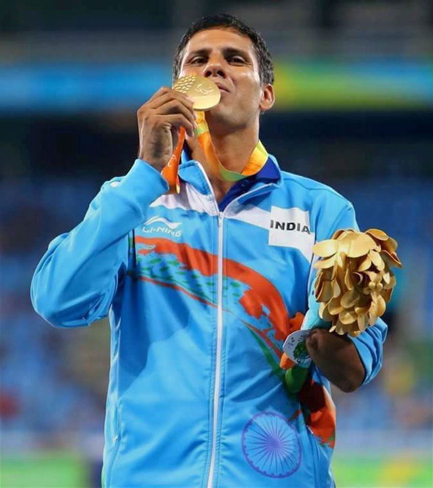 Gold medal winner India's Devendra Jhajharia poses at the presentation ceremony of the men's javelin throw of the Paralympic Games in Rio de Janeiro, Brazil, Sept. 14. Jhajharia won gold and set a new world record. (Press Trust of India)