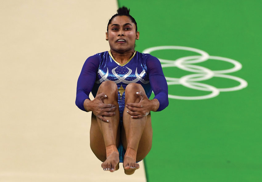 India's Dipa Karmakar competes in the women's vault event final of the Artistic Gymnastics at the Olympic Arena during the Rio 2016 Olympic Games in Rio de Janeiro, Aug. 14. (Toshifumi Kitamura | AFP | Getty Images)