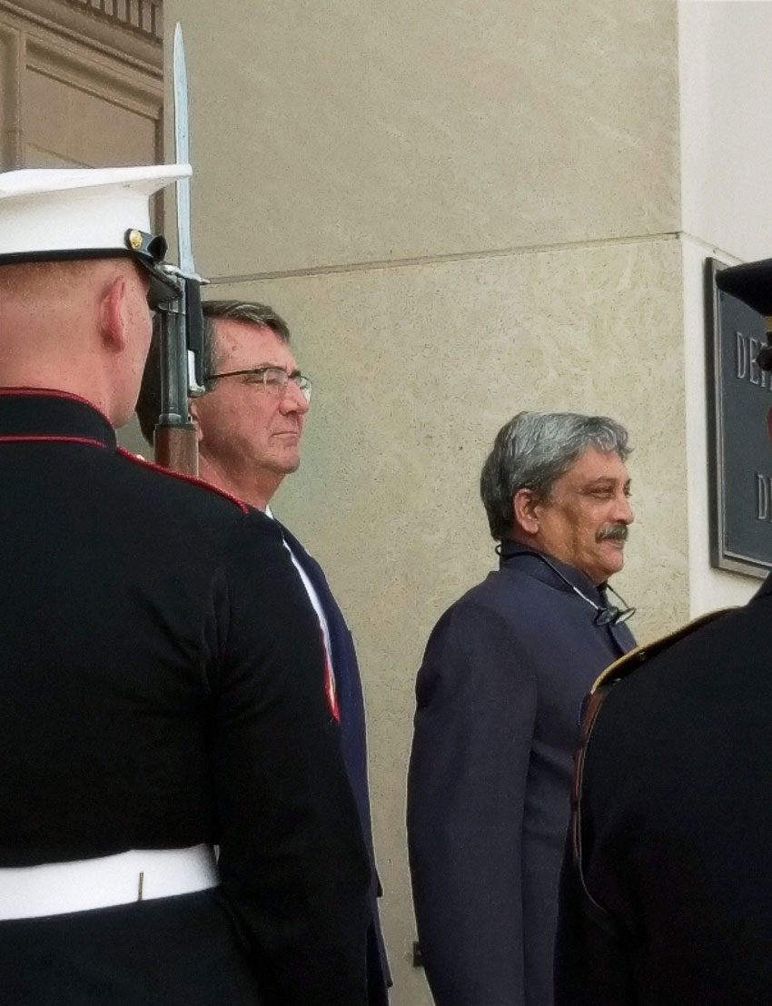 Indian Defense Minister Manohar Parrikar being welcomed by the U.S. Defense Secretary Ashton Carter at the Pentagon, Aug. 29. (Press Trust of India)