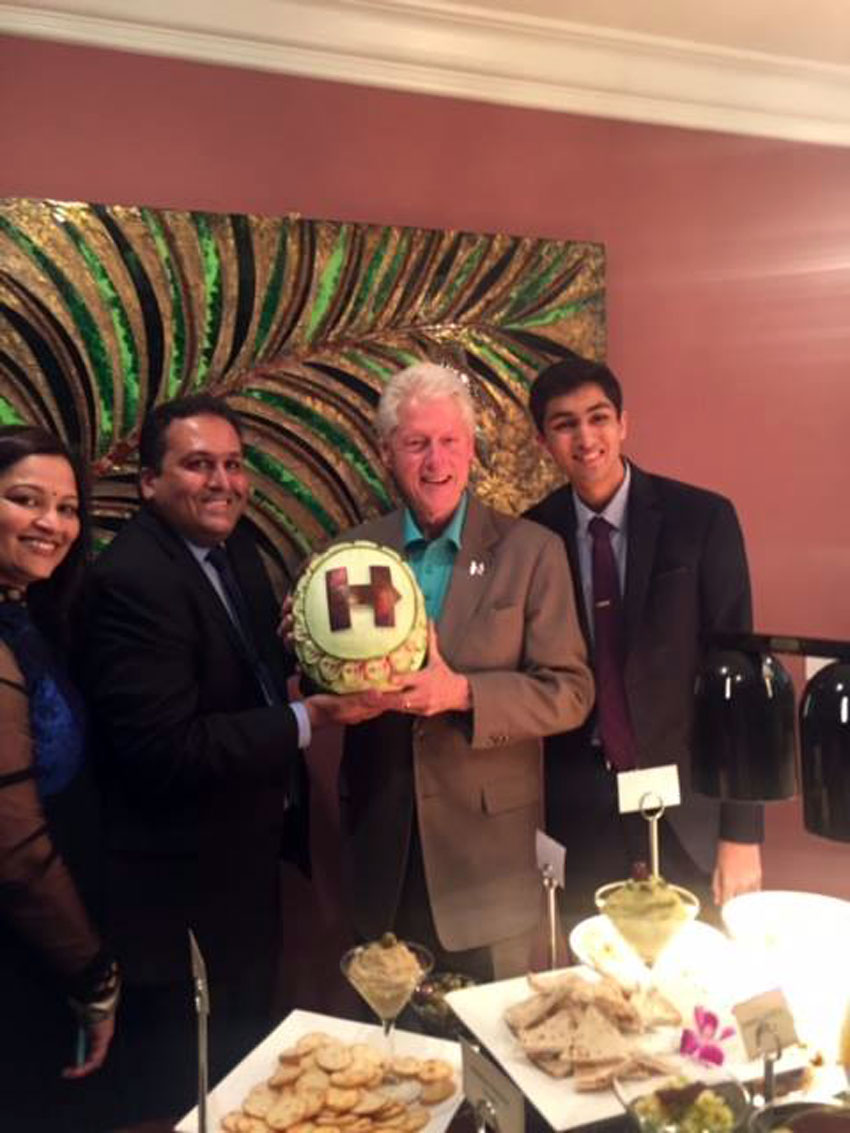 President Bill Clinton with the author, Ajay, and his family, at their Fremont, Calif., home earlier this year during a fundraiser for Hillary Clinton's campaign, hosted by the Bhutorias.