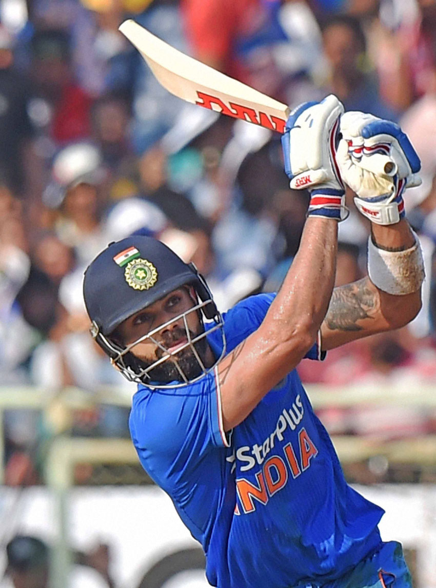 Indian cricketer Virat Kohli in action.