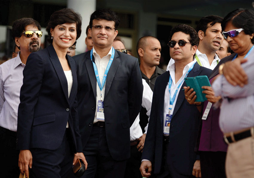 Former Indian cricketers Sachin Tendulkar, Sourav Ganguly, Anjum Chopra and K. Srikkanth, present at the Green Park on the occasion of India's 500th Test match in Kanpur, Sept. 22. (Atul Yadav/PTI)