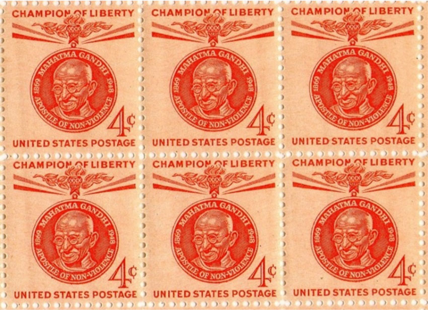 """The U.S. Postal Service issued two stamps on January 26, 1961, 4¢ first class postage stamp and 8¢ postage stamp to honor Mahatma Gandhi in the """"Champion of Liberty"""" series. (Photo courtesy: Inder Singh)"""