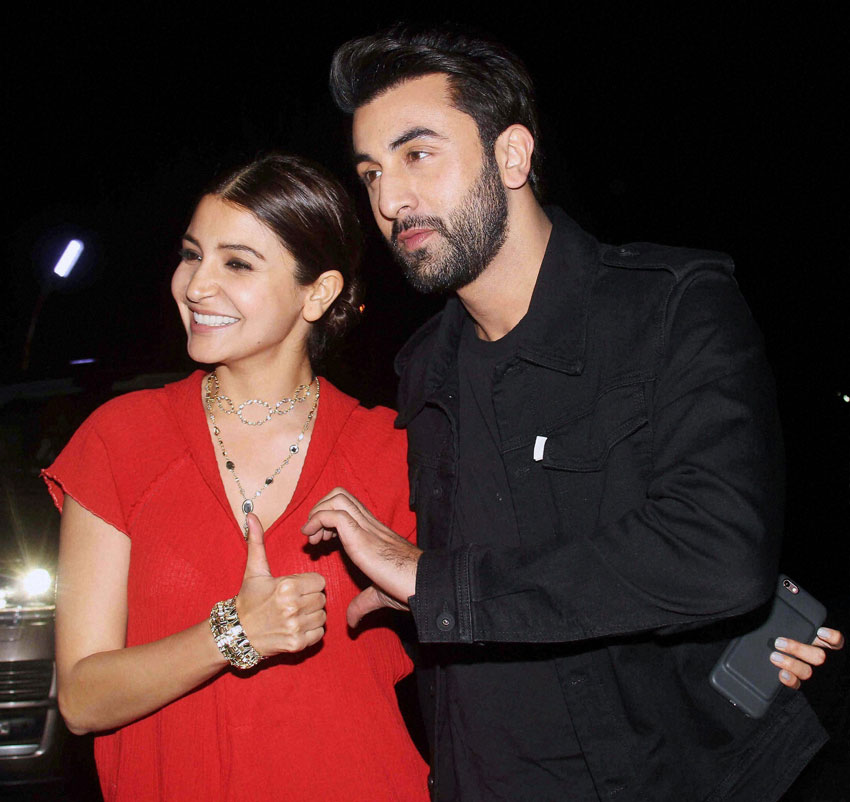 "Anushka Sharma and Ranbir Kapoor during the screening of film ""Ae Dil Hai Mushkil"" in Mumbai, Oct. 25. (Press Trust of India)"