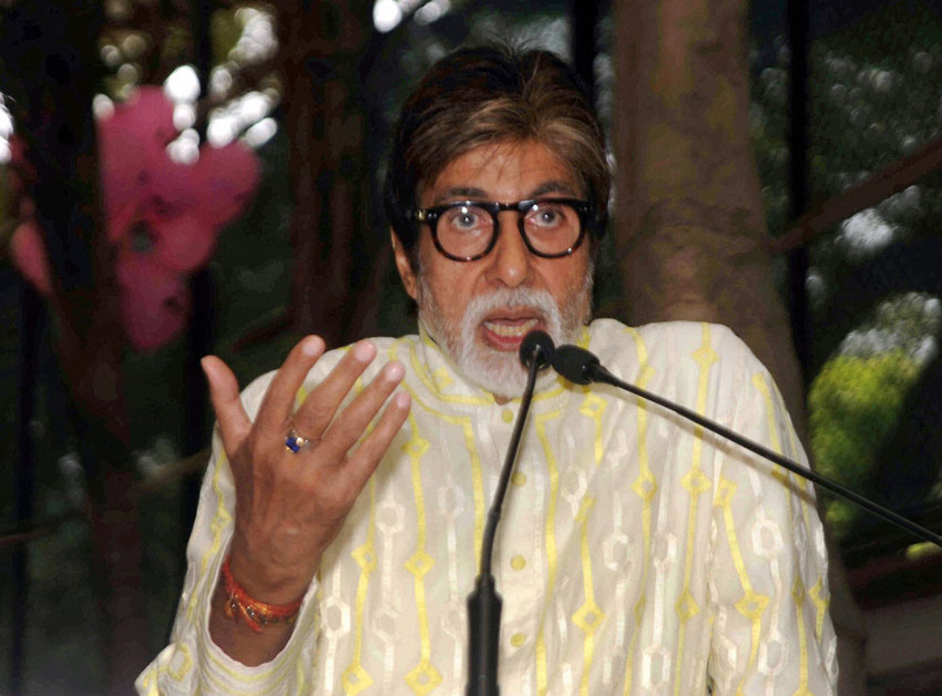 Amitabh Bachchan speaks at a press conference on his 74th birthday in Mumbai, Oct. 11. (Press Trust of India)