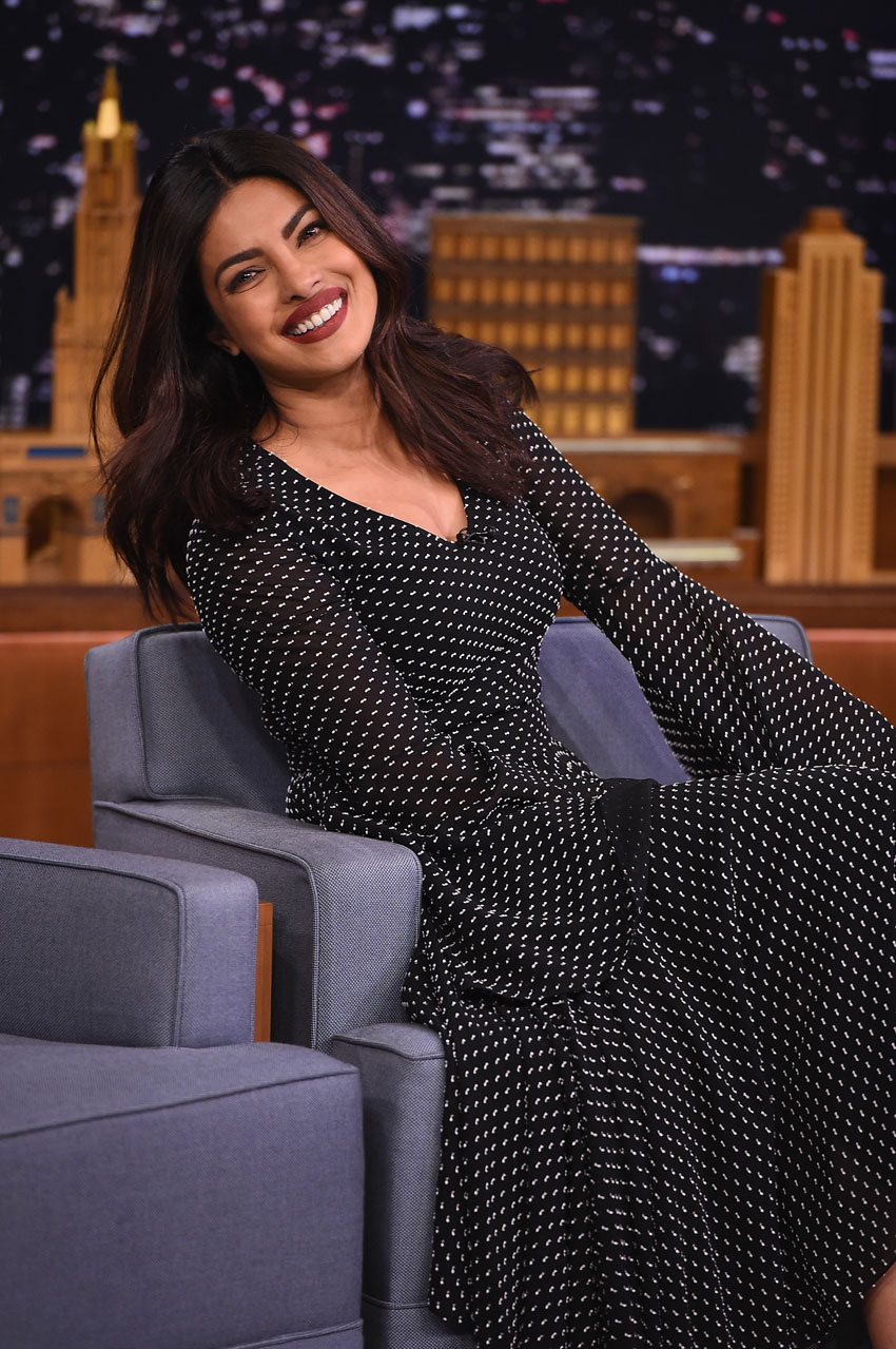 "Priyanka Chopra visits ""The Tonight Show Starring Jimmy Fallon"" at Rockefeller Center, Sept. 21, in New York City. (Theo Wargo/Getty Images for NBC)"