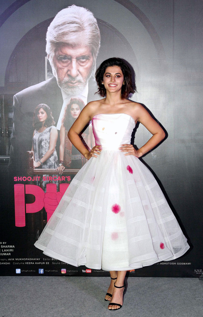 Taapsee Pannu at the trailer launch of 'Pink' in Mumbai, Aug. 9. (Press Trust of India)