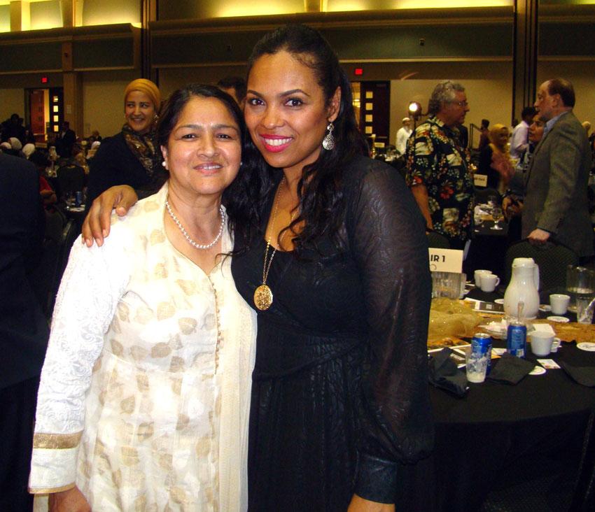 Hana Ali, (r), with Dr. Firdos Sheikh, a local celebrity.
