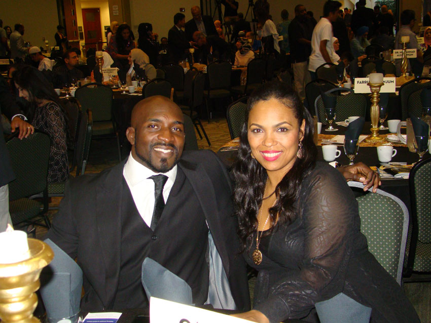 Hana Ali, (r), with her husband Kevin Casey.
