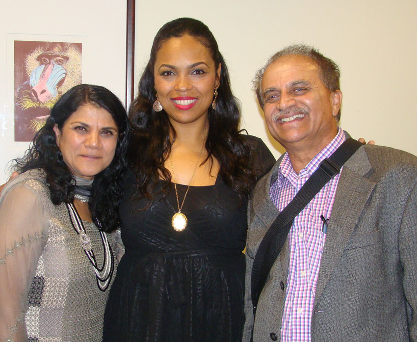 The writer, (r), and his wife, (l), with Hana Ali.