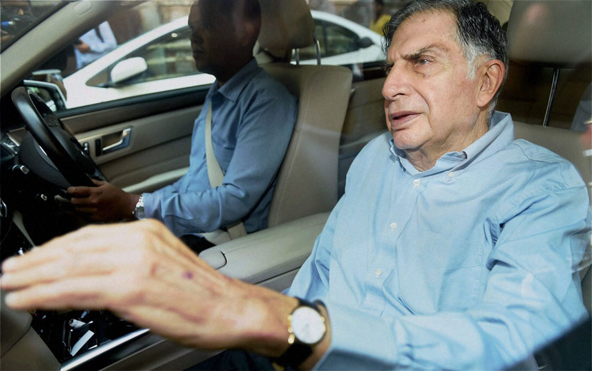 Ratan Tata, who replaced Cyrus Mistry to become the interim Chairman of Tata Sons leaves after attending a meeting at Bombay House in Mumbai, Oct. 25. (Mitesh Bhuvad/PTI)