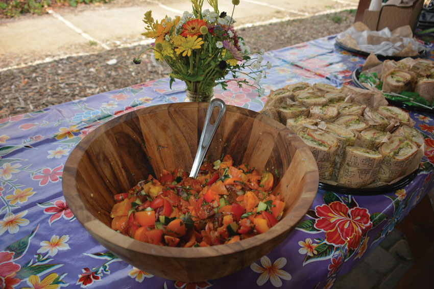 Garden-fresh tomato salad served to the media at a tour of Veggielution farm in San Jose, Calif., Sept. 7.