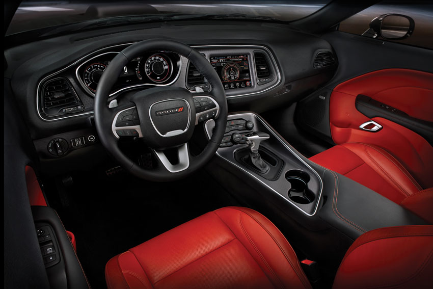 Interior view of the 2016 Dodge Challenger.