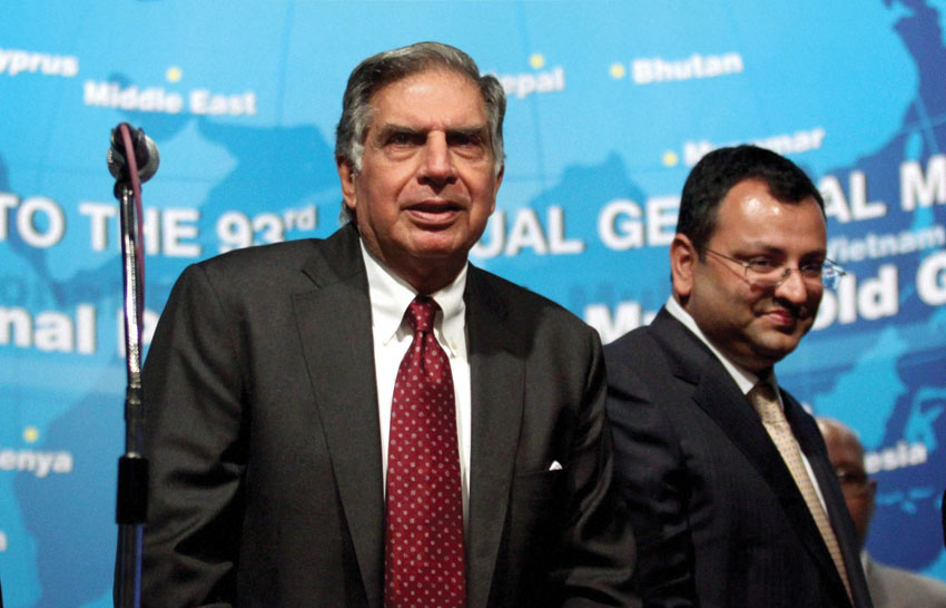 File photo of Ratan Tata (l) with Cyrus Mistry. Tata Sons removed Cyrus Mistry as its Chairman, Oct. 24, nearly four years after he took over the reins of the group. Ratan Tata makes a comeback, taking over as the company's interim boss for 4 months.  (Press Trust of India)