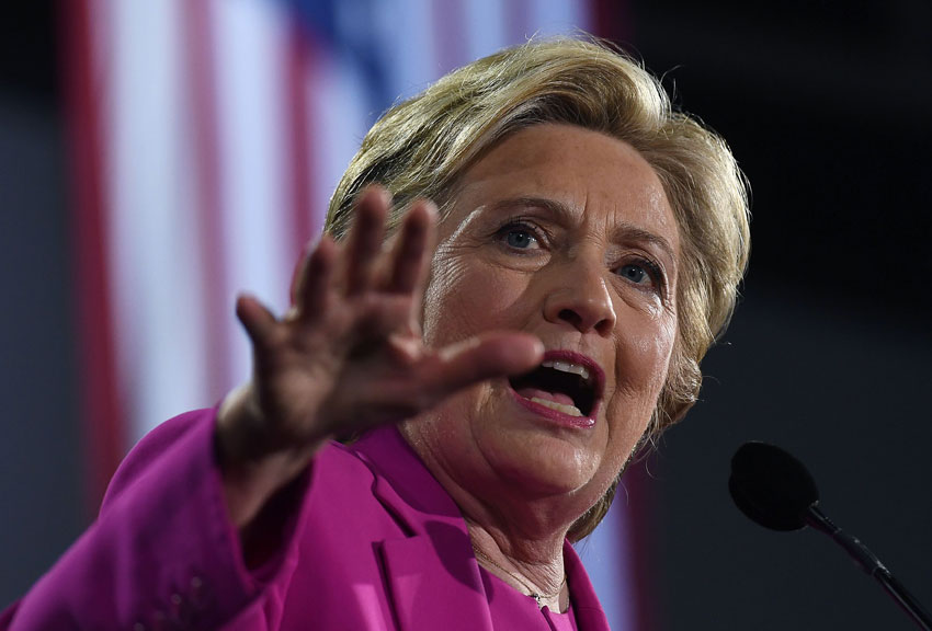 Democratic presidential nominee Hillary Clinton speaks during a campaign rally in Raleigh, North Carolina, Nov. 3. (Jewel Samad/AFP/Getty Images)