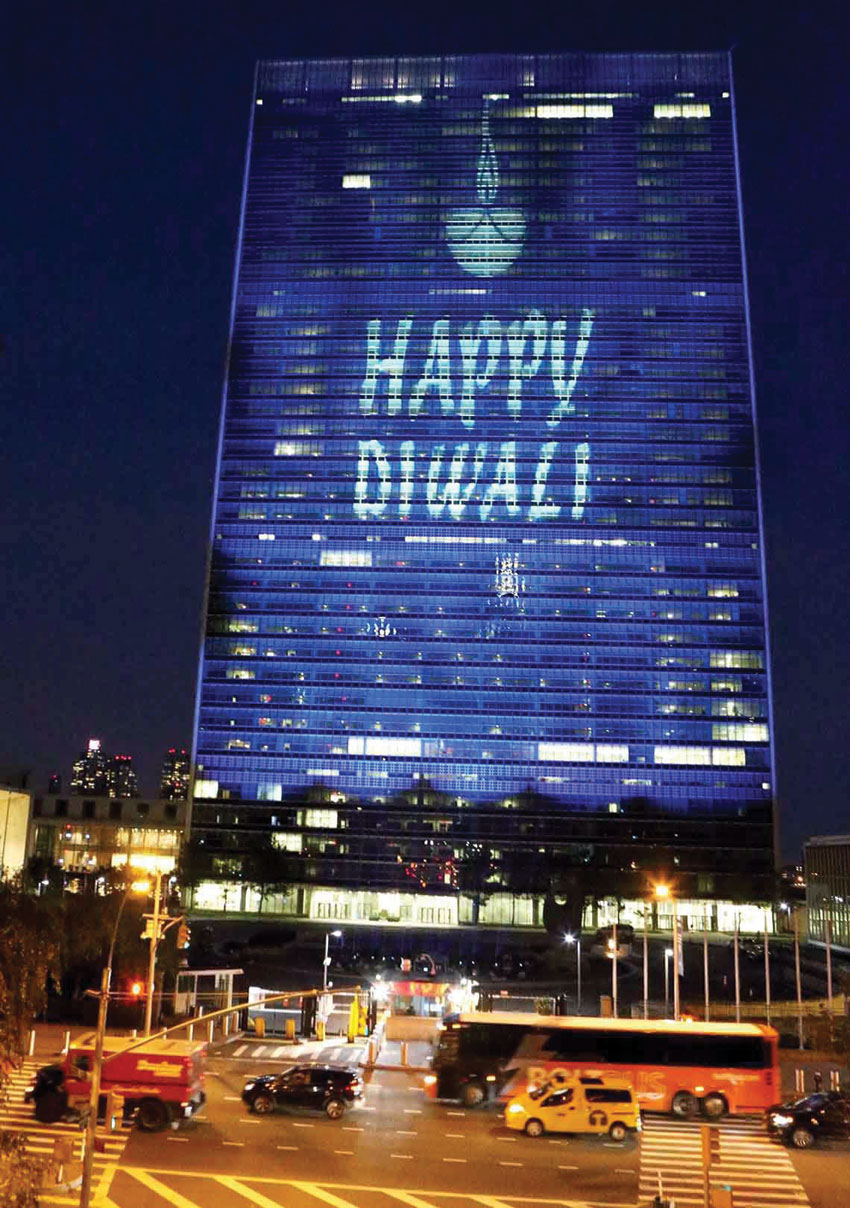 The UN headquarters lit up and greeted the people on the occasion of Diwali for the first time in New York, Oct. 30. (Press Trust of India)
