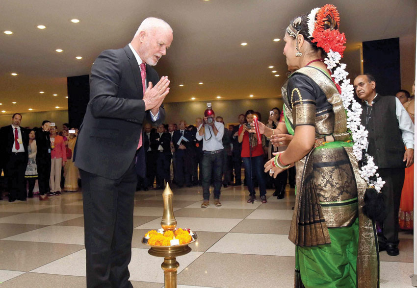 Peter Thomson, President of the 71st UN General Assembly, after lighting the traditional lamp to inaugurate 1st ever celebration of Diwali Festival at the United Nations Headquarters in New York, Nov. 1. (Press Trust of India)
