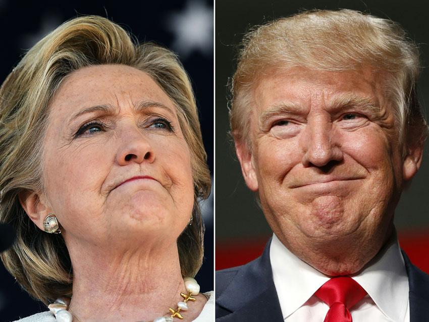 (L-r): U.S. Democratic presidential hopeful Hillary Clinton and Republican President-elect Donald Trump (Jewel Samad, Jeff Kowalsky/AFP/Getty Images)