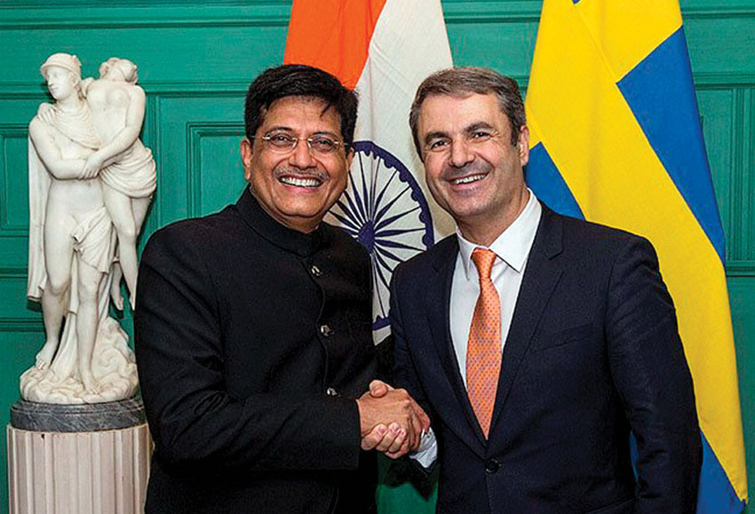 Minister of State for Power and Coal, Piyush Goyal (l) seen here at a meeting with the Swedish Minister for Policy Coordination and Energy, Ibrahim Baylan in Stockholm, Sweden, Oct. 2. (Press Trust of India)