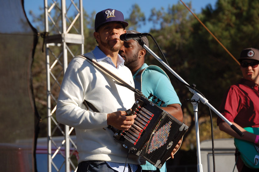 Headliner Andre Thierry rocks the crowd with massive doses of Zydeco. (Al Auger)