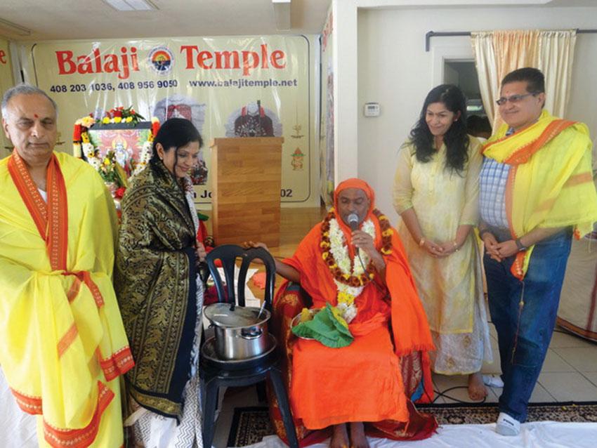Sri Prabhu, Poonam Goel, N. Swamiji, Hema and Manoj Pombra. (Balaji Temple, San Jose)