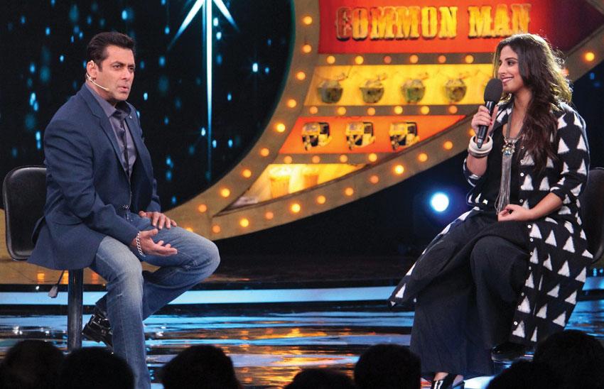 "Salman Khan with Vidya Balan during the TV show ""Bigg Boss - Season 10"" in Mumbai, Nov. 27. (Press Trust of India)"