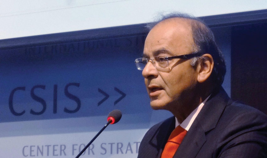 """Indian Finance Minster, Arun Jaitley, delivering key note address at the conference """"Deepening the U.S.-India Commercial Partnership: The First Year of the Modi Government"""" organized by the Center for Strategic and International Studies, an American think-tank in Washington, D.C., in April 2015. (Press Trust of India)"""
