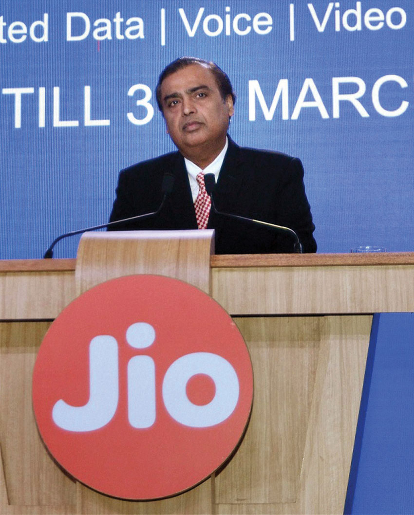 Reliance Industries Limited chairman Mukesh Ambani speaks during a press briefing of Reliance Jio, in Mumbai, Dec. 1. (Press Trust of India)