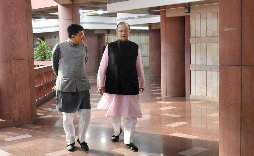 Finance Minister Arun Jaitley and MoS (IC) Power, Coal, New & Renewable Energy and Mines Piyush Goyal arrive for the BJP Parliamentary Party meeting in New Delhi, Nov. 29. (Atul Yadav/PTI)
