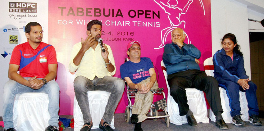 Tennis player Rohan Bopanna speaks during the press conference announcing 'Tabebuia Open,' India's first AITA ranking wheelchair tennis tournament in Bengaluru on Tuesday. (Press Trust of India)