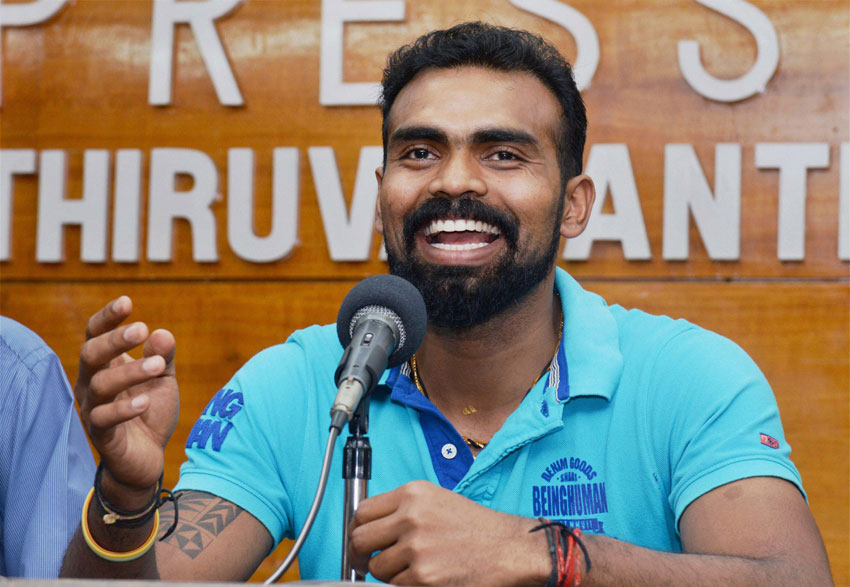 Indian hockey team captain P.R. Sreejesh at a press meet in Thiruvananthapuram, Nov. 30. (Press Trust of India)